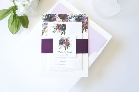 Purple Floral Wedding Invitation - SAMPLE SET