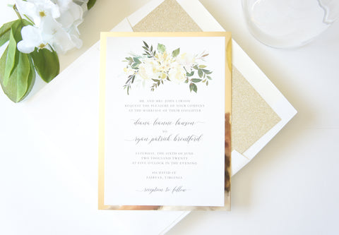 Ivory and Gold Floral Wedding Invitation - DEPOSIT