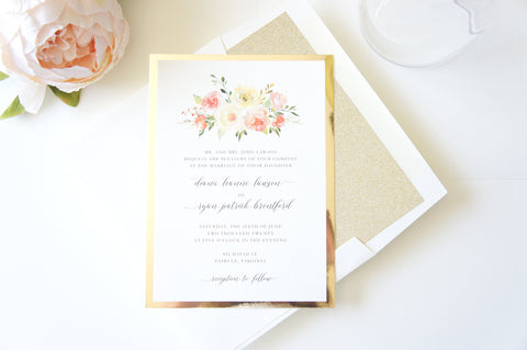 Blush and Gold Floral Wedding Invitation - DEPOSIT