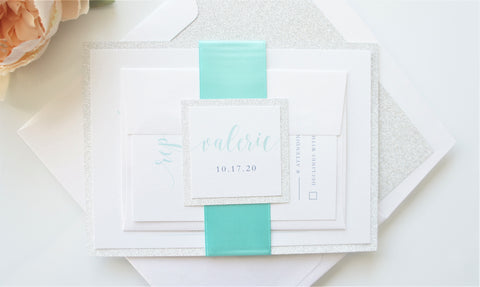 Elegant Mint and Silver Bat Mitzvah Invitation - Deposit