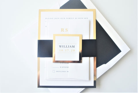 Black and Gold Bar Mitzvah Invitation - Sample
