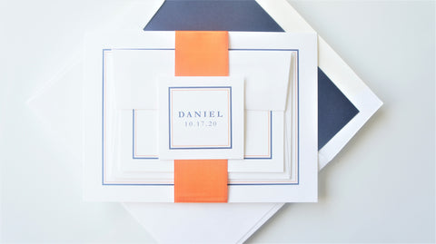 Orange and Navy Blue Bar Mitzvah Invitation - Sample