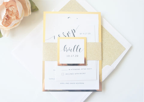 Gold Glitter Bat Mitzvah Invitation - Deposit