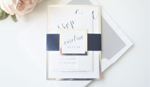 Navy Blue and Silver Bat Mitzvah Invitation - Deposit
