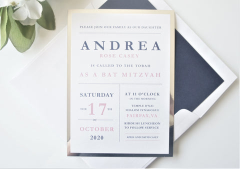 Modern Bat Mitzvah Invitation - Deposit
