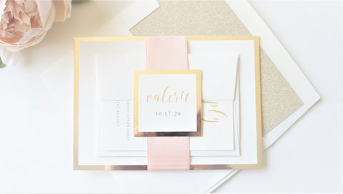 Blush and Gold Bat Mitzvah Invitation - Deposit