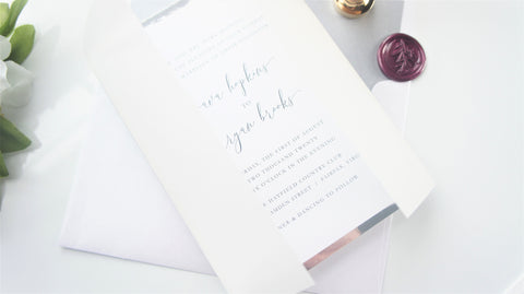 Purple and Gray Vellum and Wax Seal Wedding Invitation - SAMPLE SET