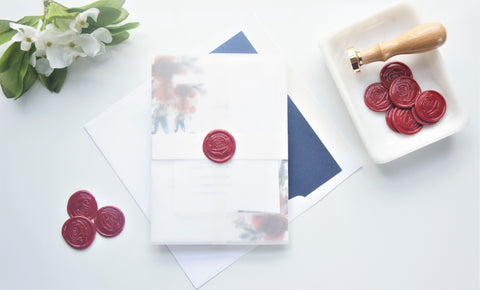 Red Floral Vellum and Wax Seal Wedding Invitation - DEPOSIT