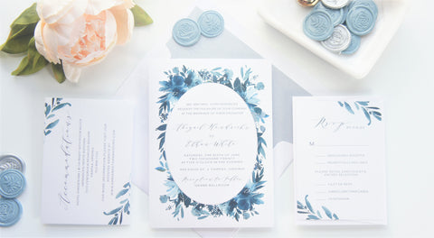 Blue Floral Vellum and Wax Seal Wedding Invitation - SAMPLE SET