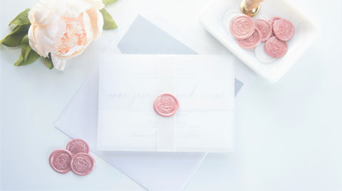 Blush Calligraphy Vellum and Wax Seal Wedding Invitation - DEPOSIT