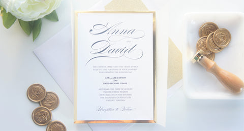 Formal Gold Vellum and Wax Seal Wedding Invitation - SAMPLE SET