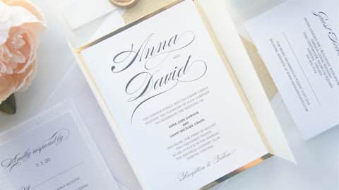 Burgundy and Gold Vellum and Wax Seal Wedding Invitation - SAMPLE SET