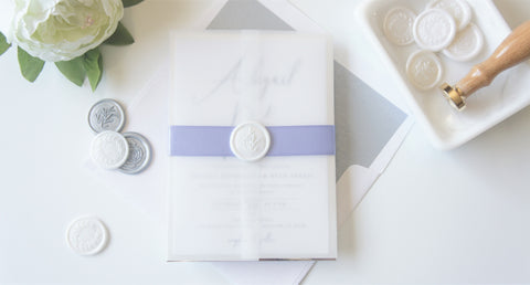 Purple and Silver Vellum and Wax Seal Wedding Invitation - DEPOSIT