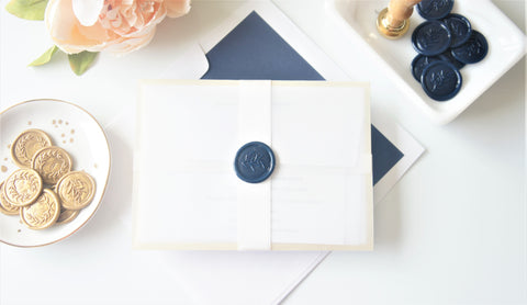 Navy and Gold Vellum and Wax Seal Wedding Invitation - DEPOSIT