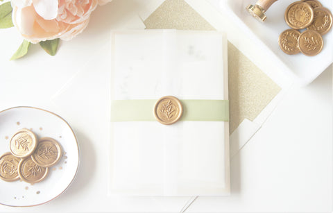 Greenery and Gold Vellum and Wax Seal Wedding Invitation - DEPOSIT