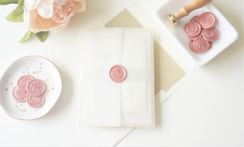 Modern Blush and Gold Vellum and Wax Seal Wedding Invitation - DEPOSIT