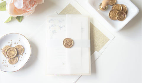 Ivory and Gold Floral Vellum and Wax Seal Wedding Invitation - DEPOSIT