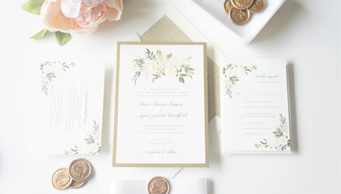 White and Gold Floral Vellum and Wax Seal Wedding Invitation - SAMPLE SET