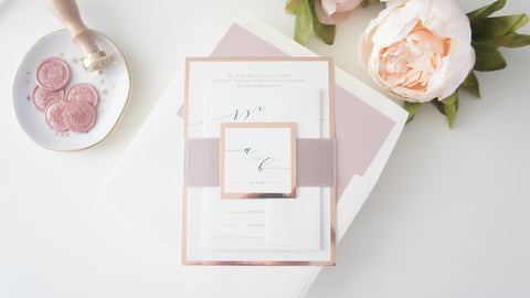 Rose Gold Calligraphy Wedding Invitation - SAMPLE SET