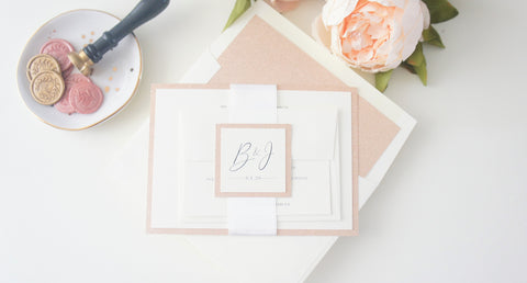 Rose Gold and Ivory Wedding Invitation - SAMPLE SET