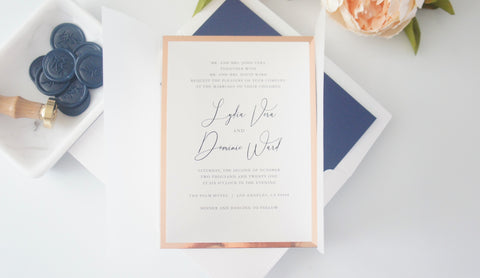 Navy Blue and Rose Gold Vellum and Wax Seal Wedding Invitation - SAMPLE SET