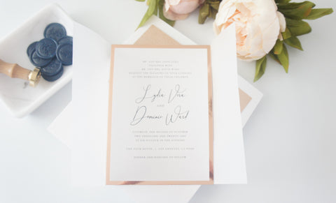 Navy and Rose Gold Vellum and Wax Seal Wedding Invitation - DEPOSIT
