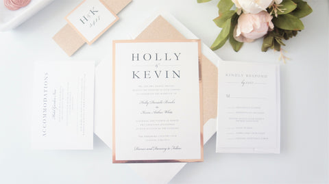 Modern Rose Gold Glitter Wedding Invitation - SAMPLE SET