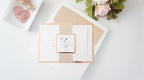 Classic Rose Gold Wedding Invitation - DEPOSIT