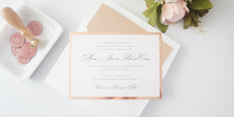 Classic Rose Gold Wedding Invitation - SAMPLE SET