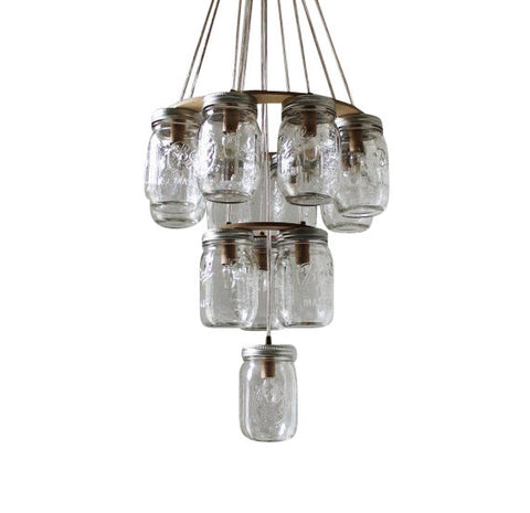 3 Tier Upside Down Mason Jar Chandelier