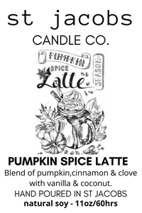 Pumpkin Spice, and everything nice, that is what fall is made of..  Blend of cinnamon & clove with vanilla & coconut and of course Pumpkin!  Eleven ounces of pure deliciousness hand-poured in small batches at our St. Jacobs Village Studio..
