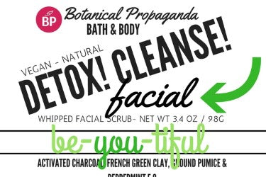 Detox, Cleanse and Exfoliate!  This facial scrub is a game changer.   French Green Clay, laced with activated Charcoal Jojoba Beads is paired with Activated Bamboo Charcoal and ground Pumice.  This scrub has a beautiful lather with just the right amount of scrub while Jojoba & Hemp Seed Oil work to moisturize your skin.