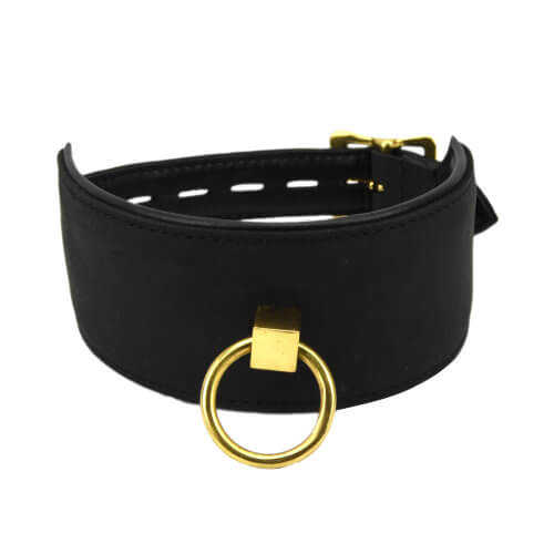 Bound Noir Nubuck Leather Collar with O Ring