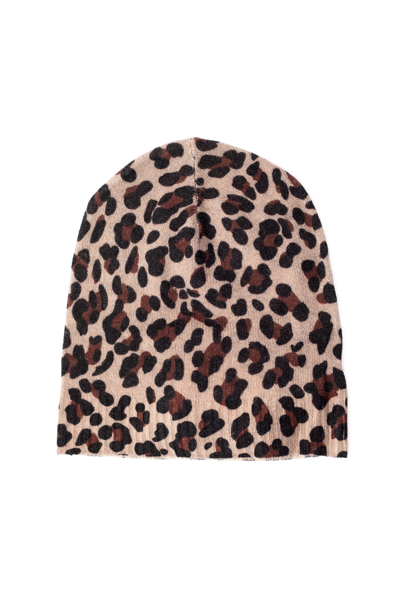 Leopard Cashmere Beanie in Jungle
