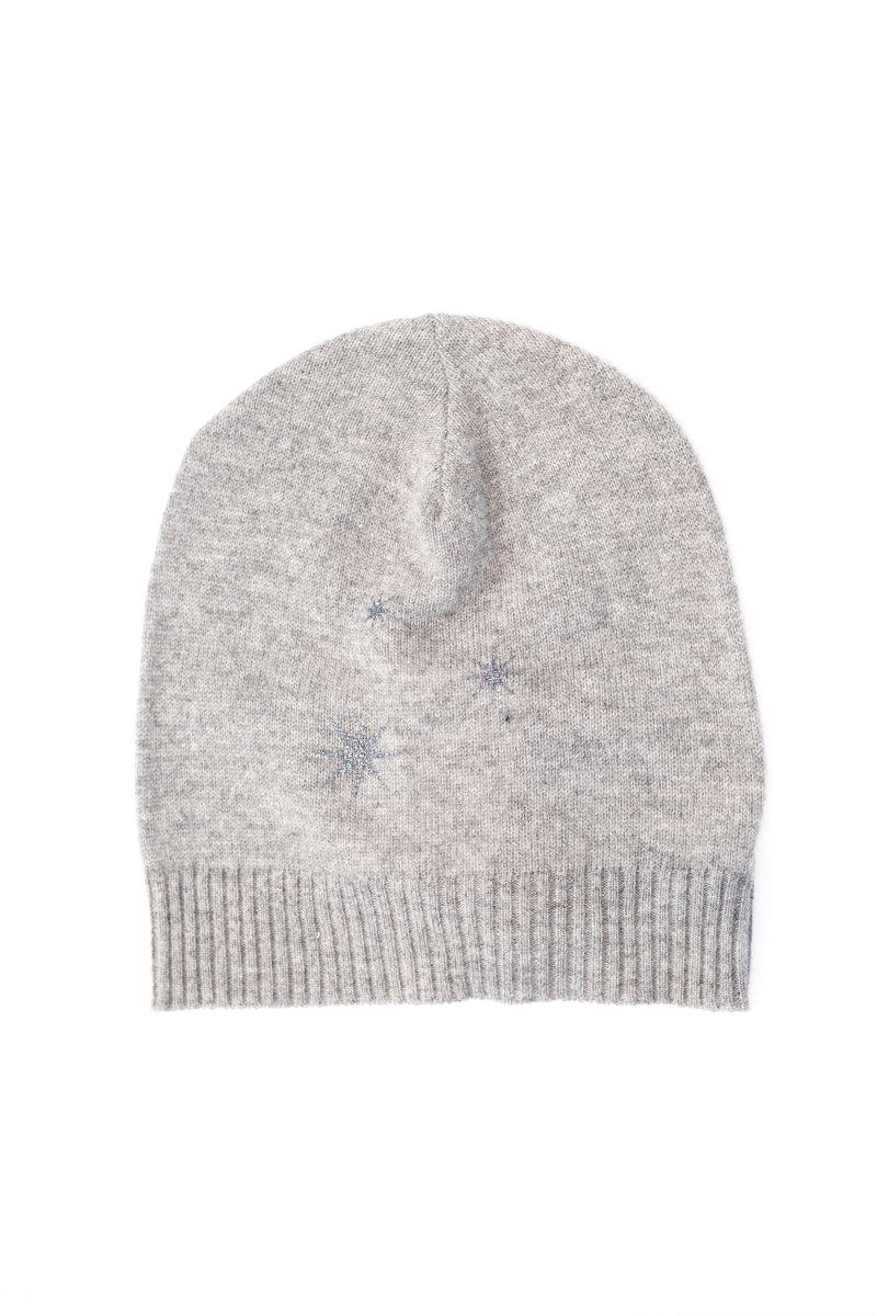 Starburst Cashmere Beanie in Heather Grey