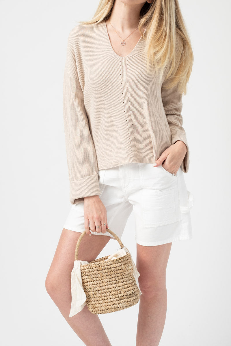 Lysa Cuffed Ribbed Hoodie in Almond