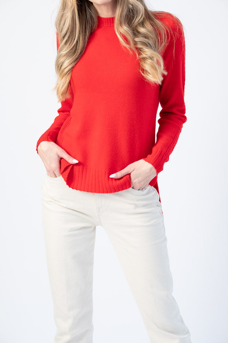 Anka Pullover Crewneck Sweater in Flame