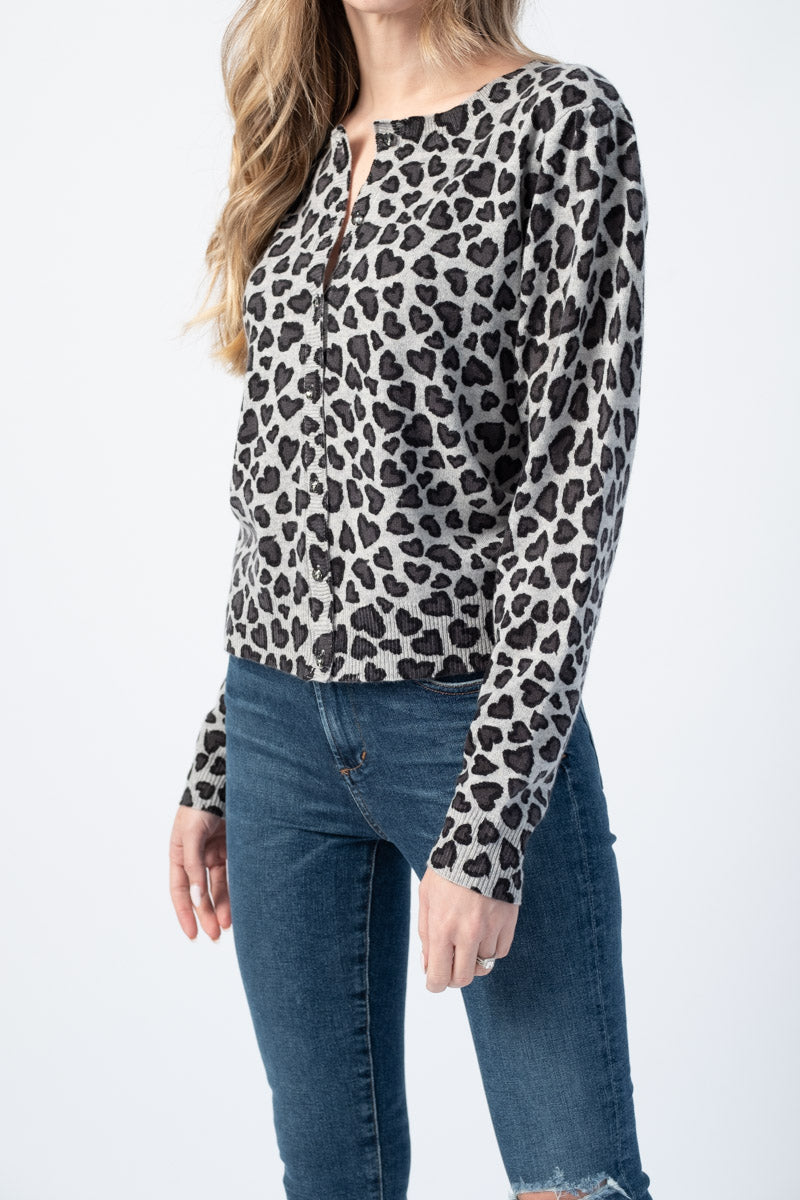 Garance Cheetah Heart Cardigan in Dove