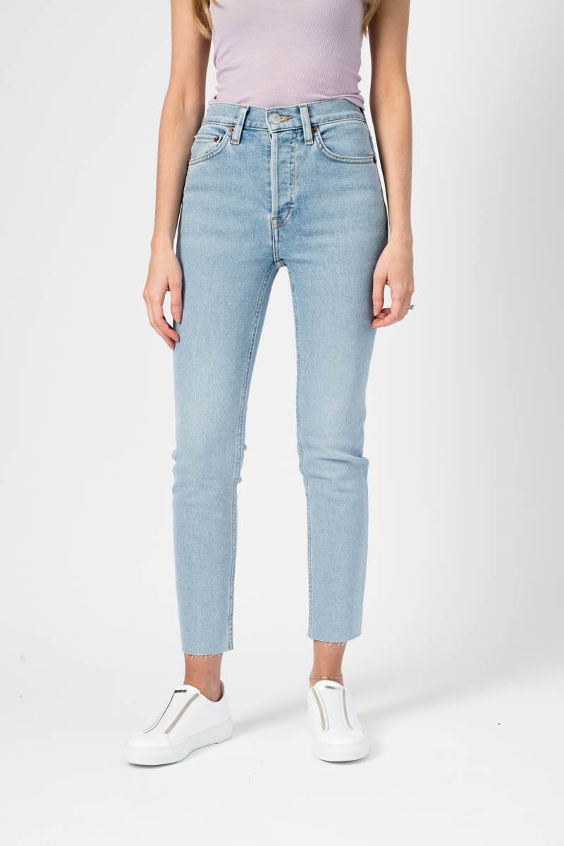 90's Comfort Stretch High Rise Ankle Crop Jeans in Light 2