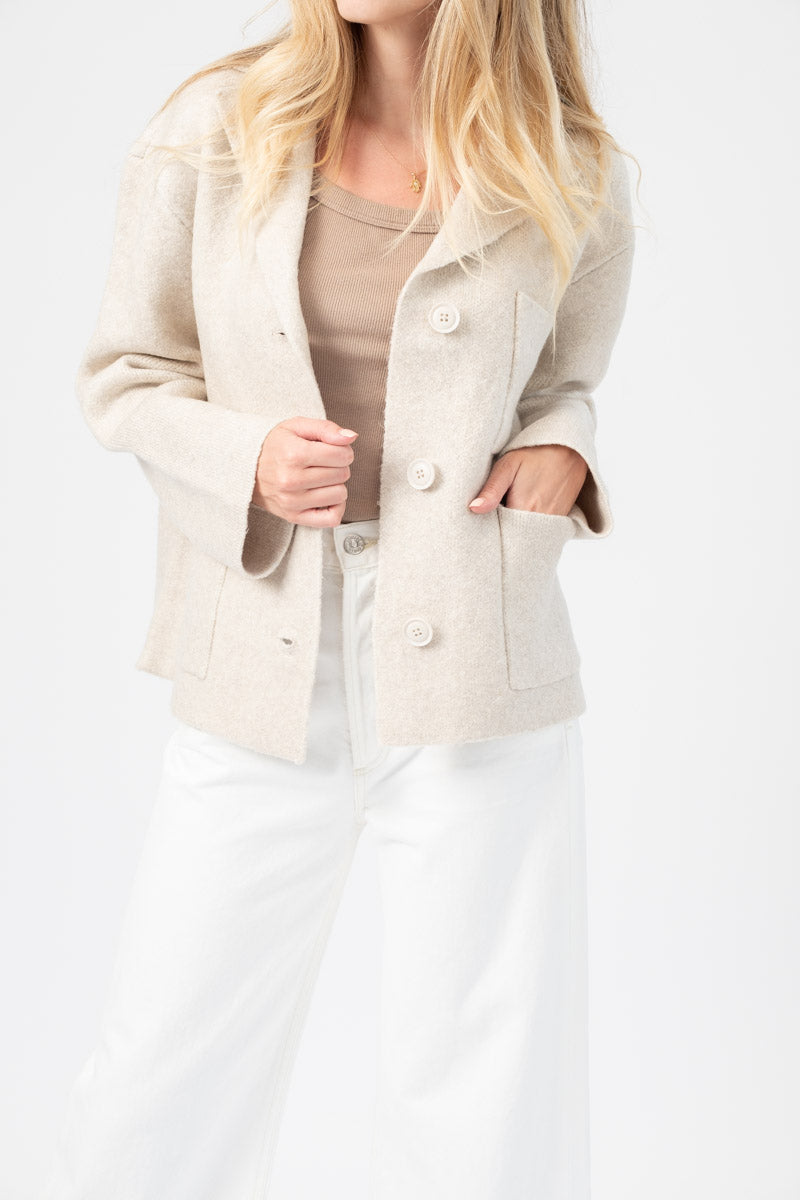 Novelty Blend Sweater Jacket in Oat