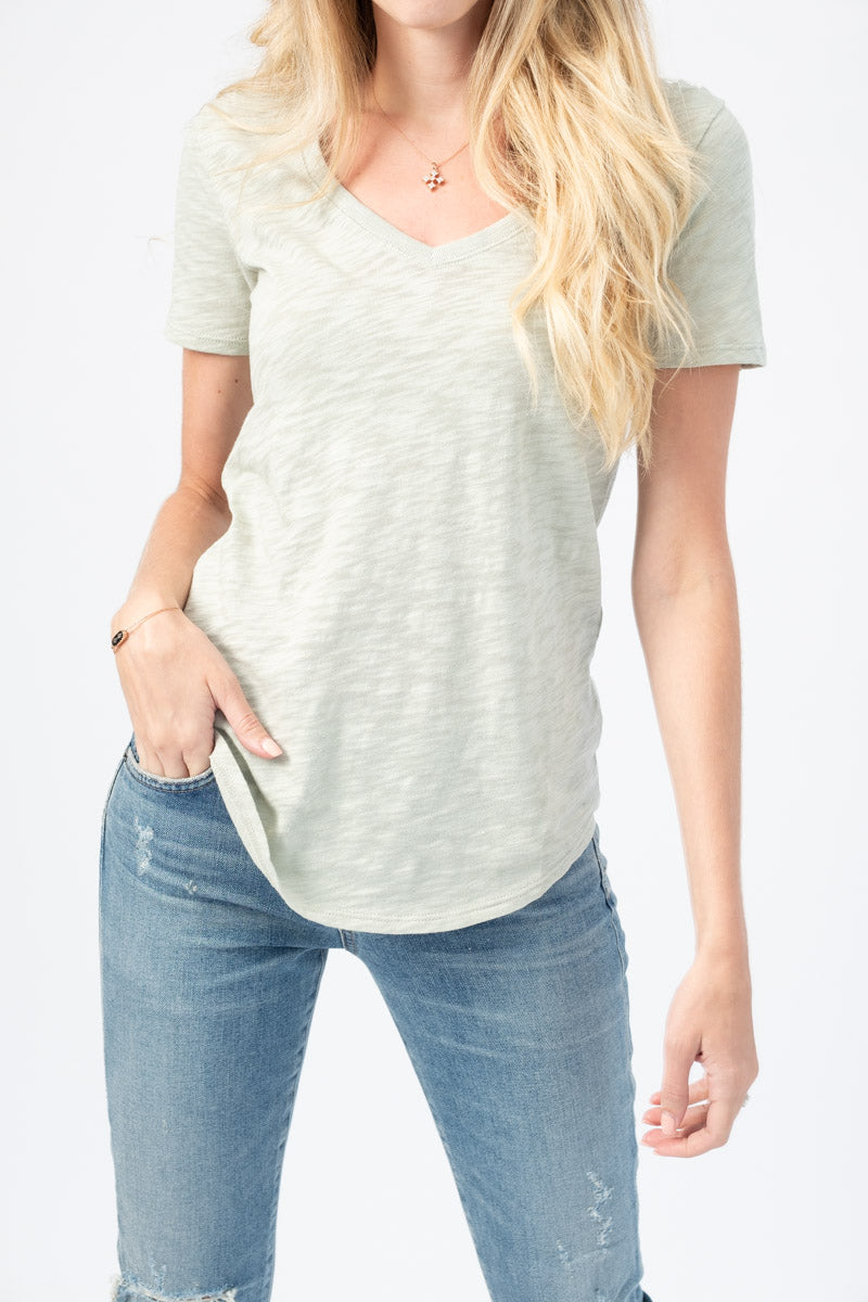 Slub Jersey Short Sleeve V-Neck Tee in Sage