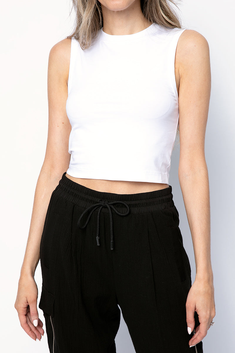 Cotton Cropped Sleeveless Tee in White