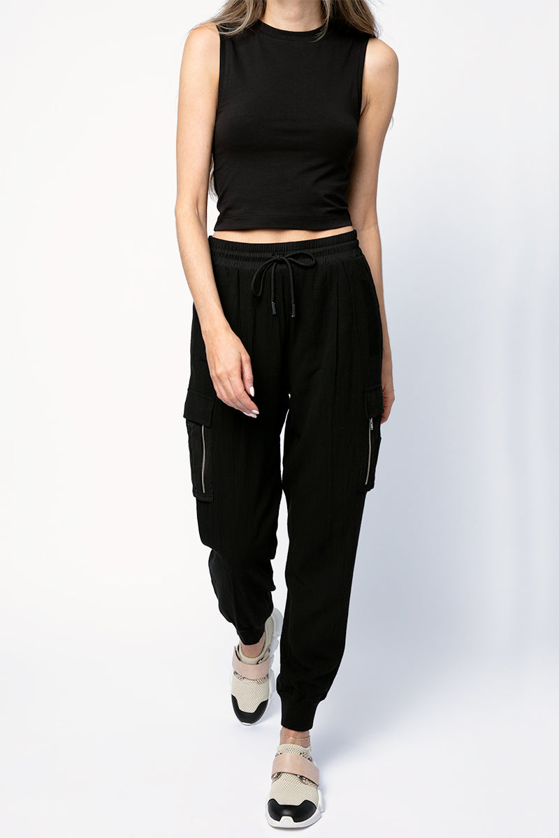 Cotton Gauze Pull On Cargo Pant in Black