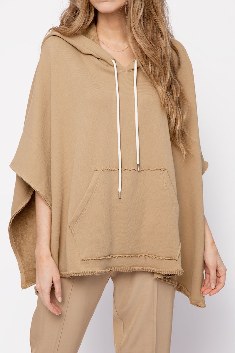 Hooded Poncho in Dune