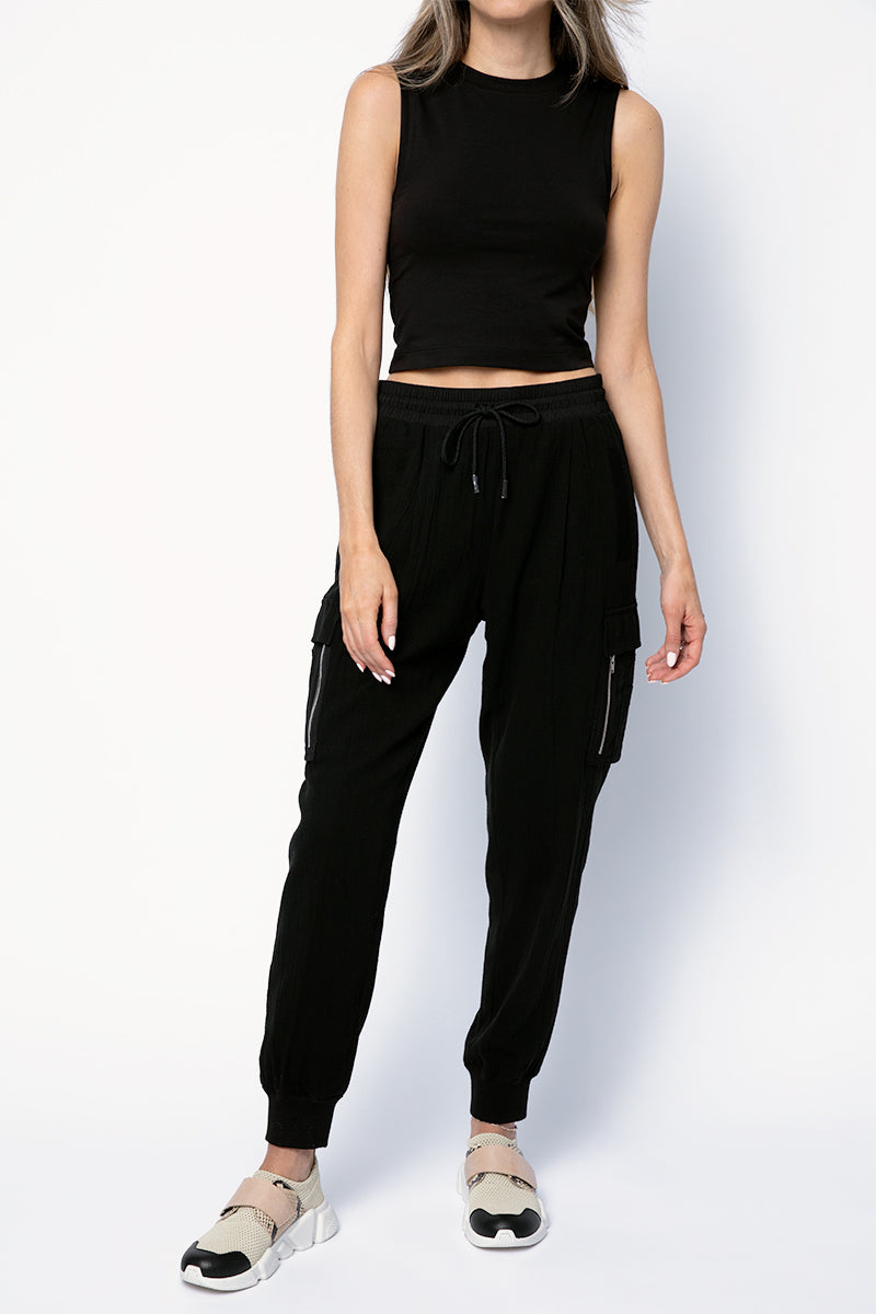 Cotton Cropped Sleeveless Tee in Black