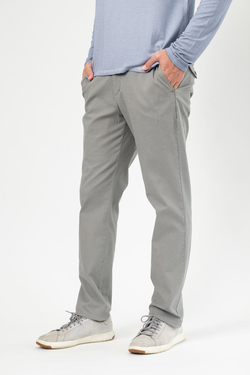 Enzyme Washed Stretch Cotton Slim Pant in Grey