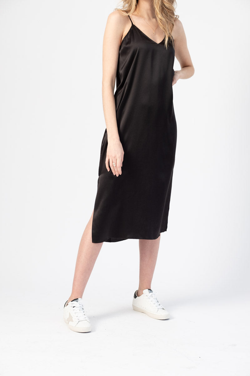Silk Slip Dress in Black