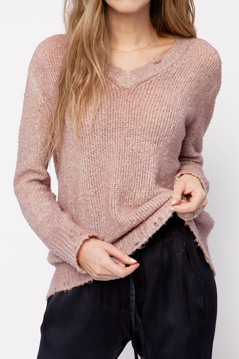 Distressed V-Neck Pullover Sweater in Nut