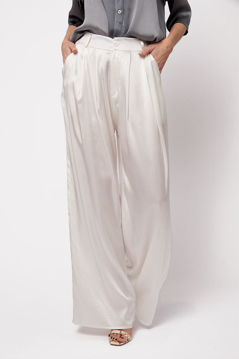 Silk Trouser Pants in Bianco