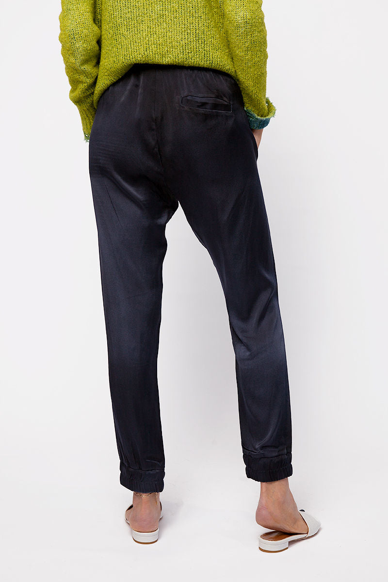 Silk Trouser Pants in Navy